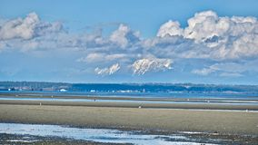 Miasto linia horyzontu, śnieżne góry i niski przypływ na granicie, Trzymać na dystans Obraz Royalty Free