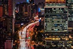 Miasto linia horyzontu, Szanghaj Zdjęcie Royalty Free
