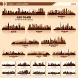 Miasto linia horyzontu ustawia 10 wektorowych sylwetek Azja -1 ilustracja wektor