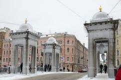Miasto linia horyzontu w zimie Zdjęcie Stock