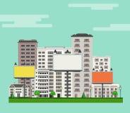 Miasto linia horyzontu z multistorey mieszkaniem, zieleni drzewa i gazon budynki biurowi, billboardy ilustracja wektor