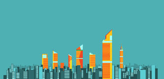 Miasto linii horyzontu tła wektoru ilustracja płaski miasto budynek Fotografia Stock