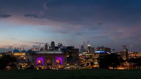 Miasto linii horyzontu widok zjednoczenia stacyjny i w centrum Kansas City Missouri Zdjęcia Royalty Free