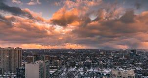 Miasto linii horyzontu zmierzch nad Toronto Timelapse zbiory