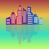 Miasto logo, kolorowy przy świtem, wektorowa budynek sieci ikona, etykietka, miastowy krajobraz, sylwetki, pejzaż miejski, grodzk Zdjęcie Royalty Free