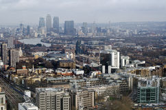 Miasto Londyński widok w kierunku Docklands Fotografia Royalty Free