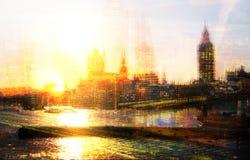 Miasto Londyn przy zmierzchem Wieloskładnikowego ujawnienia wizerunek zawiera miasto Londyński pieniężny aria london wielkiej bry Obrazy Stock