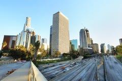 Miasto Los Angeles śródmieście przy zmierzchem zdjęcie stock