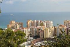 Miasto Malaga Morze i bullfighting arena obrazy stock