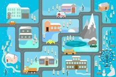 Miasto mapa dla dzieci Śnieżny miasto krajobraz, samochodu ślad - bawić się matę royalty ilustracja