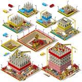 Miasto mapa Ustawia 04 płytki Isometric royalty ilustracja