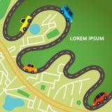 Miasto mapa z drogami i kolorowymi samochodami royalty ilustracja