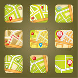 Miasto mapa z GPS ikonami Obraz Stock