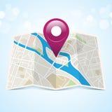 Miasto mapa Z markierem Fotografia Royalty Free