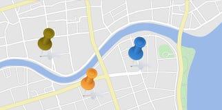 Miasto mapa z szpilkami Fotografia Stock