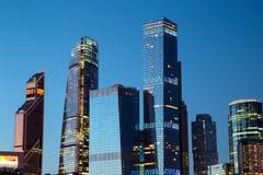 miasto Moscow Russia Moskwa Międzynarodowy centrum biznesu przy wschodem słońca Obrazy Stock