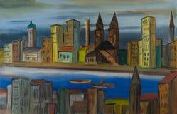 Miasto na rzece z kościół i colourful domami ilustracja wektor