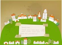 Miasto na wzgórza tle ilustracja wektor
