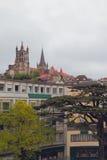 Miasto na wzgórzach Lausanne, Szwajcaria Obrazy Stock