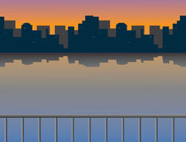 miasto nad rzecznym wschód słońca ilustracja wektor