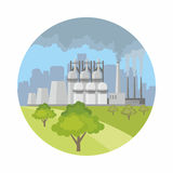 miasto nad smogiem royalty ilustracja