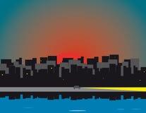 miasto nad wschód słońca Zdjęcie Royalty Free