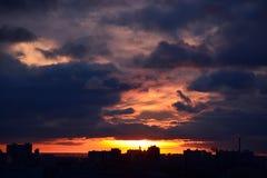 miasto nad zachodem słońca Zdjęcia Stock