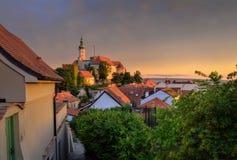 miasto nad zachodem słońca Fotografia Stock