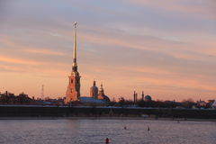 miasto nad zachodem słońca Obraz Royalty Free