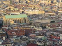 Miasto Naples od above Napoli Włochy Vesuvius wulkan behind Obrazy Royalty Free