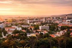 Miasto Nitra od Above przy zmierzchem zdjęcie royalty free