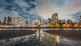 Miasto noc na plaży obrazy royalty free