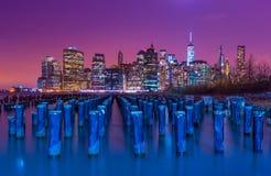 miasto nocy nowa linia horyzontu York NY, usa Fotografia Royalty Free