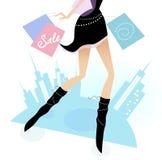 miasto nogi tęsk zakupy kobieta ilustracji