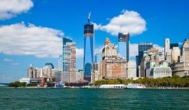 Miasto Nowy Jork śródmieście w wolności wierza Obraz Stock