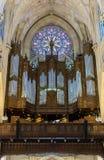 Miasto Nowy Jork świętego Patricks katedry Różany okno i Fajczany organ Zdjęcia Royalty Free