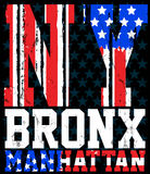 Miasto Nowy Jork America flaga wektorowy druk i uniwerek Dla koszulki Zdjęcie Stock