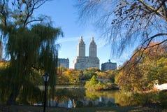 Miasto Nowy Jork central park w jesieni i linia horyzontu Fotografia Stock