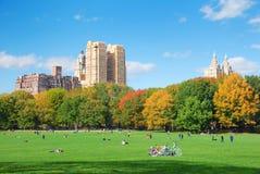 Miasto Nowy Jork Centrali Park z chmurą i niebieskim niebem Zdjęcia Royalty Free