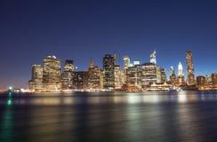 Miasto Nowy Jork - Cudowny lato zmierzchu widok lower manhattan Obraz Stock