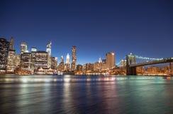 Miasto Nowy Jork - Cudowny lato zmierzchu widok lower manhattan Zdjęcie Royalty Free