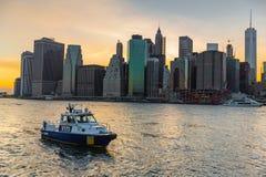 Miasto Nowy Jork departamentu policji łódź Fotografia Royalty Free