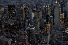 Miasto Nowy Jork, Duży Apple Powietrzna linia horyzontu, pejzaż miejski z budynków dachami od Rockefeller centrum Manhatten, usa  Fotografia Royalty Free