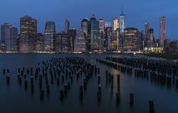 Miasto Nowy Jork linia horyzontu od Brooklyn fotografia royalty free