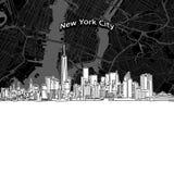 Miasto Nowy Jork linia horyzontu z mapą ilustracja wektor