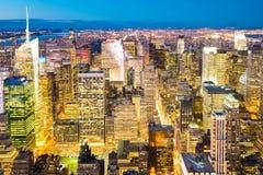 Miasto Nowy Jork linii horyzontu półmrok Obraz Stock