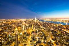 Miasto Nowy Jork linii horyzontu półmrok Zdjęcia Stock