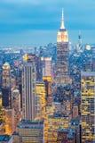 Miasto Nowy Jork linii horyzontu półmroku usa Obraz Royalty Free