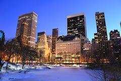 Miasto Nowy Jork Manhattan Centrali Park w zima Obrazy Stock