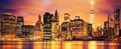 Miasto Nowy Jork Manhattan środek miasta przy zmierzchem Obrazy Stock